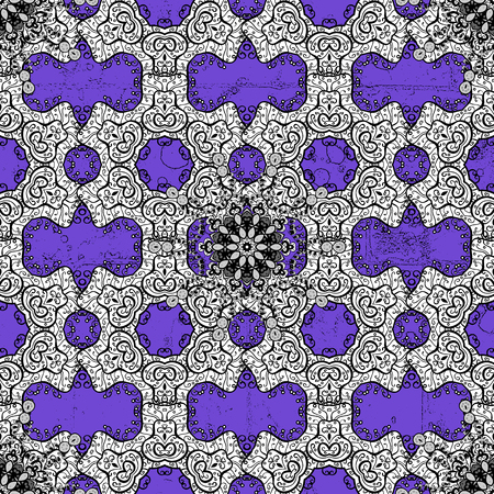 White element on violet background. Blue Sketch on texture background.Damask pattern repeating background. Blue violet floral ornament in baroque style. Illustration