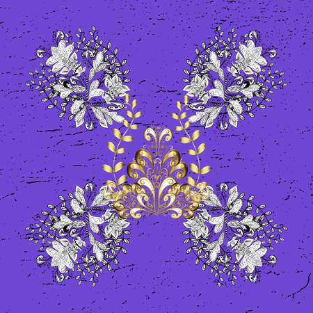 diversified: Vector for holiday Thanksgiving day, a simple hand-drawn winter design on colorful background in violet colors. Grunge elements. Illustration