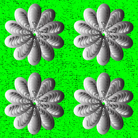 Silver Sketch on texture background.Damask repeating Pattern. Silver green floral ornament in baroque style. Illustration