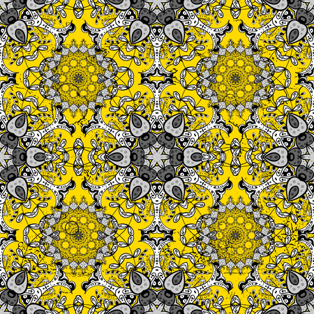 attern: ?attern on yellow background with golden elements. Golden textured curls. Vector golden pattern. Oriental style arabesques.