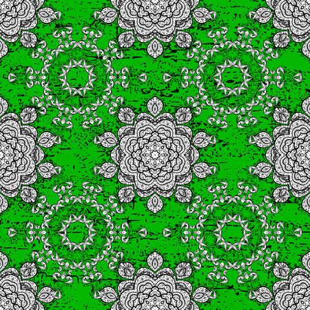 distinguished: Rough pattern for adult coloring book. Ethnic, floral, retro, doodle, vector, tribal design element. Green background. Zentangle style. Floral doodle.
