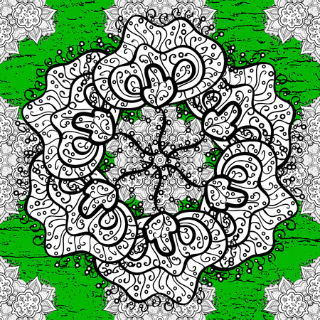White pattern on green background with white elements. Ornate decoration. Vector vintage baroque floral pattern in rough. Luxury, royal and Victorian concept. Illustration