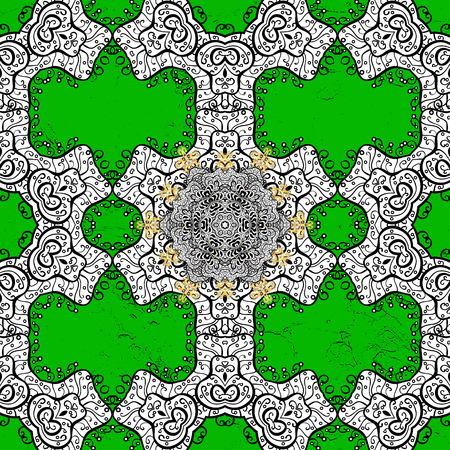 Golden pattern. Vector oriental ornament. Pattern on green background with golden elements.