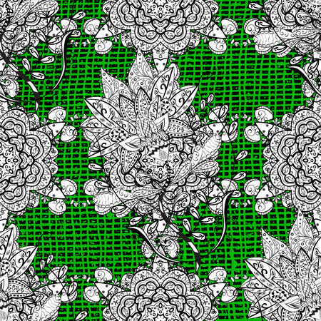 Vector illustration. Vintage pattern on a green background with white elements.
