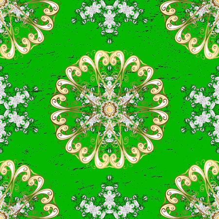 Green background with golden elements. Oriental style arabesques. Golden textured curls. Vector golden pattern.