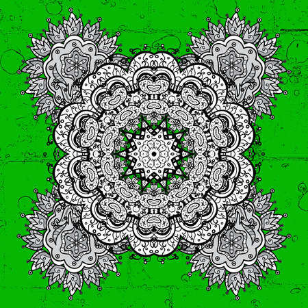 Grunge floral ornament in baroque style. Antique grunge repeatable sketch.Grunge element on background. Damask repeating background.