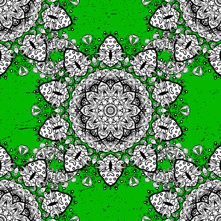 Abstract sketch, wrapping decoration. Symbol of winter, Merry Christmas holiday, Happy New Year 2018. White snowflake simple pattern. Vector white pattern on green background with white elements.