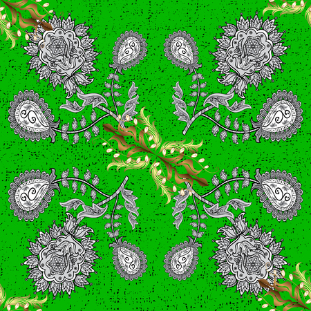 Christmas, snowflake, new year. Vintage pattern on green background with golden elements.