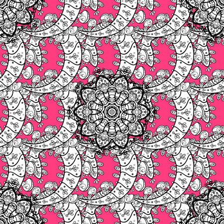 distinguished: White element on pink background. Luxury, royal and Victorian concept. Ornate vector decoration. Vintage baroque floral seamless pattern in white over pink.