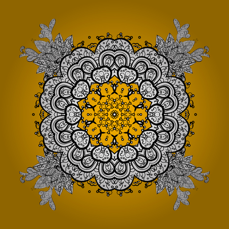 Classic vector pattern. Traditional orient ornament. Classic vintage background. On yellow and white background with white elements. Vector illustration.