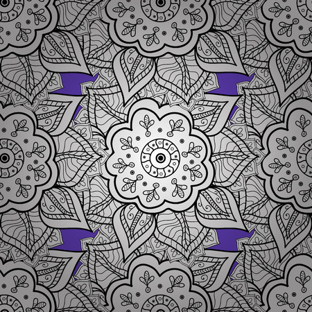 distinguished: White element on violet background. Antique white repeatable sketch. White floral ornament in baroque style. Damask seamless pattern repeating background.