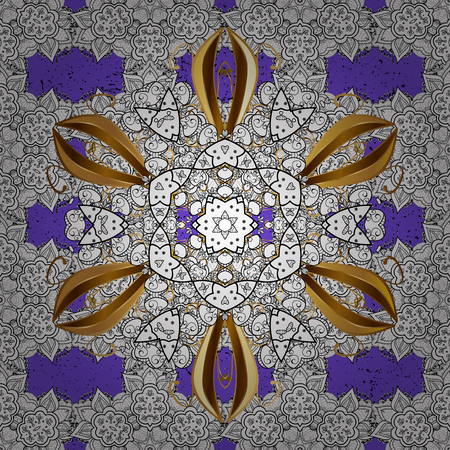minaret: Seamless oriental ornament in the style of baroque. Traditional classic golden vector pattern on violet background with golden elements.