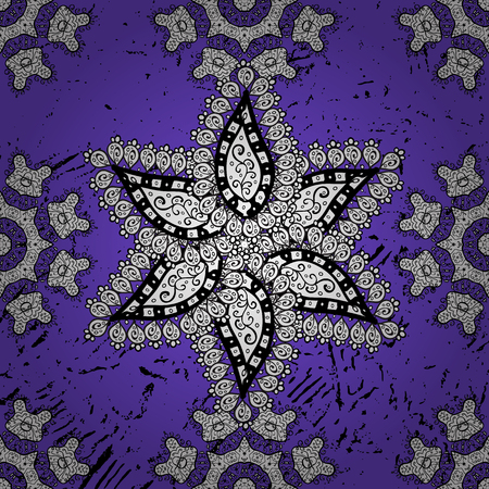Abstract sketch, wrapping decoration. Vector gray pattern on violet background. Symbol of winter, Merry Christmas holiday, Happy New Year 2018. Vintage snowflake simple ornamental pattern.