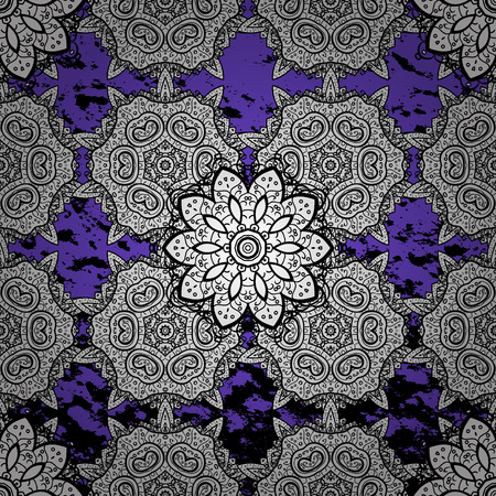 White textured curls. Vector white pattern. Violet background with white elements. Oriental style arabesques.