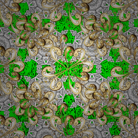 Golden element on green background. Gold Sketch on texture background.Damask pattern repeating background. Gold green floral ornament in baroque style.