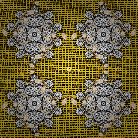 Damask gold yellow floral flower pattern background on vector. Ornate vector decoration. Illustration