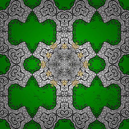 Sketch baroque, damask. Golden elements on green background. Stylish graphic pattern. Vector background. Floral pattern. Illustration
