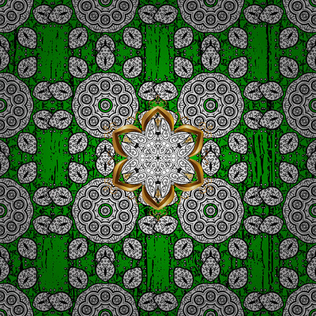 Vector oriental ornament. Golden pattern on green background with golden elements. Oriental ornament in the style of baroque. Traditional classic golden pattern.