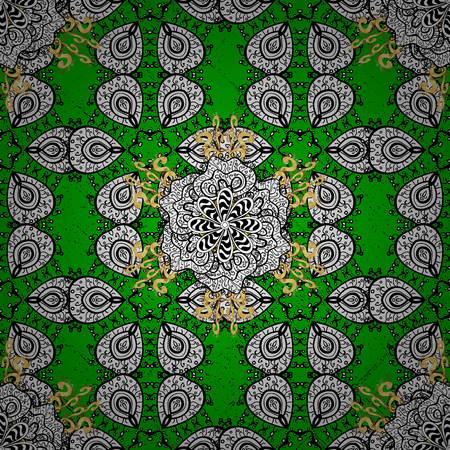 ?attern on green background with golden elements. Golden textured curls. Vector golden pattern. Oriental style arabesques.