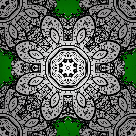 attern: ?attern on green background with white elements. Vector white pattern. Oriental style arabesques. White textured curls. Illustration
