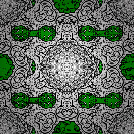 Traditional classic vector white pattern. Green background with white elements. Oriental ornament in the style of baroque. Иллюстрация