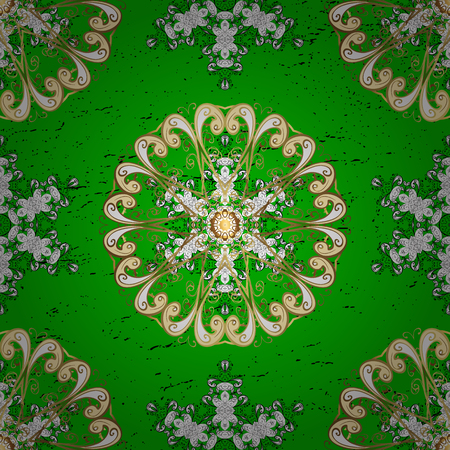 Vector golden pattern. Oriental style arabesques. ?attern on green background with golden elements. Golden textured curls.