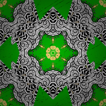 Golden texture curls. Vector. Brilliant lace, stylized flowers, paisley. Openwork delicate golden pattern. Oriental style arabesques. Pattern on green background with golden elements.
