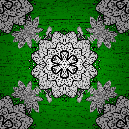 Oriental style arabesques. Vector. Pattern on green background with white elements. White texture curls. Brilliant lace, stylized flowers, paisley. Openwork delicate white pattern. Illustration