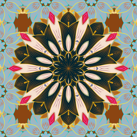 metaphysical: Oriental motifs. Colored Mandala. Vector geometric circle elements. Spiritual and ritual symbol of Islam, Arabic, Indian religions. Round Ornament Pattern on a colorful background.