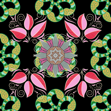 admirable: Vector abstract stylized colored mandala. Intricate colored Arabesque with on a black background.