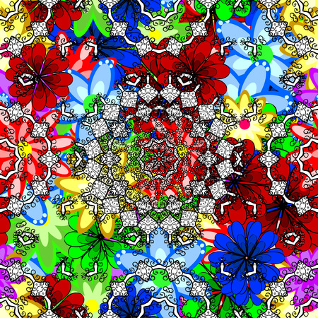 red rug: Small colorful flowers. Spring floral background with flowers. Motley illustration. Vector cute pattern in small flower. The elegant the template for fashion prints.
