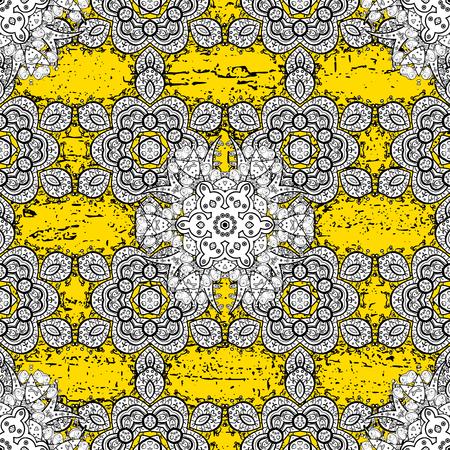 attern: Vector golden pattern. ?attern on yellow background with golden elements. Golden textured curls. Oriental style arabesques.