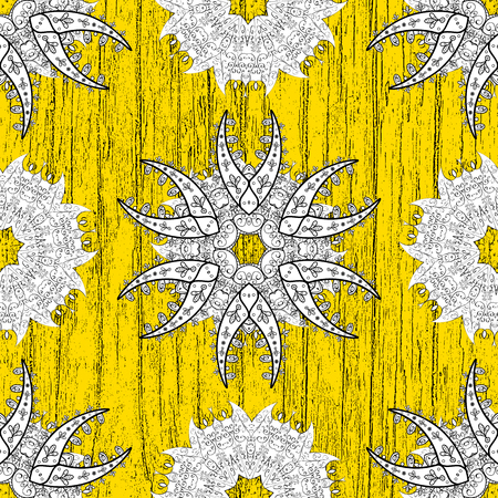 Christmas, snowflake, new year. Vintage pattern on yellow background with white elements.