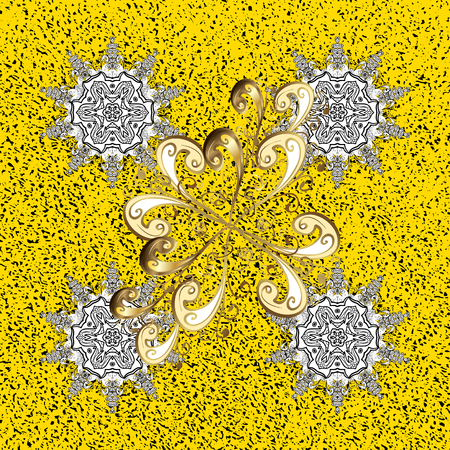Ornate vector decoration. Damask gold yellow floral flower pattern background on vector.