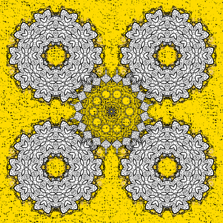 attern: Oriental style arabesques. White textured curls. ?attern on yellow background with white elements. Vector white pattern.