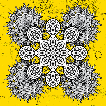 attern: White textured curls. Vector white pattern. ?attern on yellow background with white elements. Oriental style arabesques.