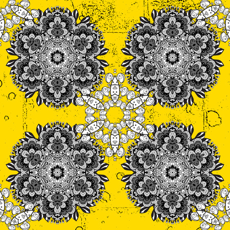 Yellow on background. Oriental classic white pattern. Vector abstract background with repeating elements.