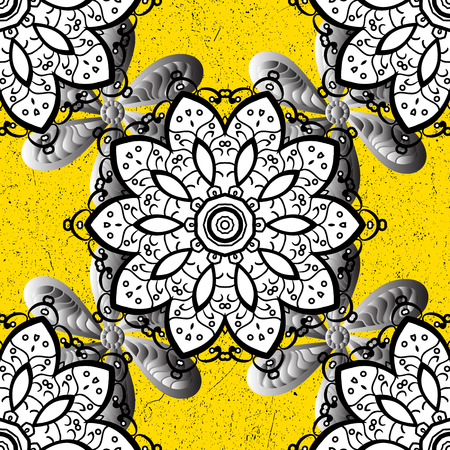 Vintage pattern on a yellow background with white elements. Vector illustration.