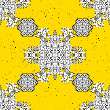 Floral ornament brocade textile pattern, glass, metal with floral pattern on yellow background with white elements. Classic vector white pattern. Illustration