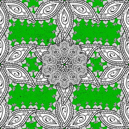Traditional classic vector white rough pattern. Vintage elements on green background. Rough oriental ornament in the style of baroque.