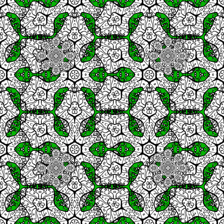 Oriental ornament in the style of baroque. Traditional classic white vector pattern on green background with white elements.