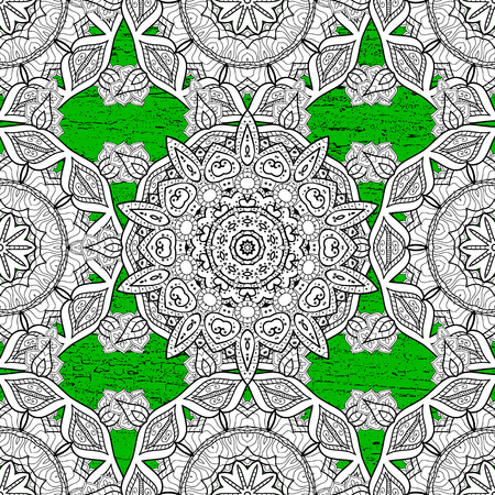 Vintage pattern on green background with white elements. Christmas, snowflake, new year.