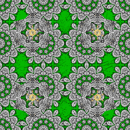 Classic vector green and golden pattern. Traditional orient ornament. Classic vintage background. Illustration
