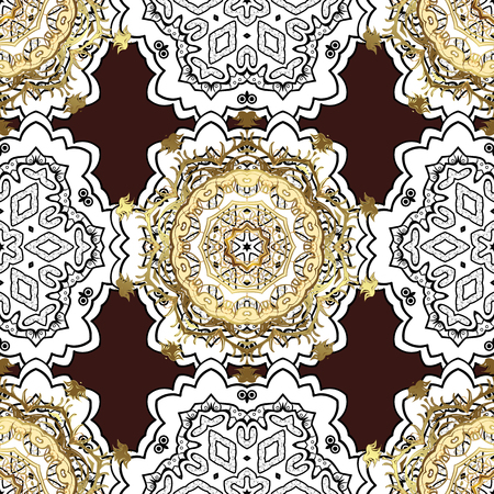 Vector traditional classic golden pattern with white doodles on brown background. Seamless oriental ornament in the style of baroque. Illustration