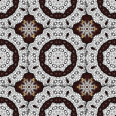 Traditional classic golden vector pattern on brown background with golden elements. Seamless oriental ornament in the style of baroque.