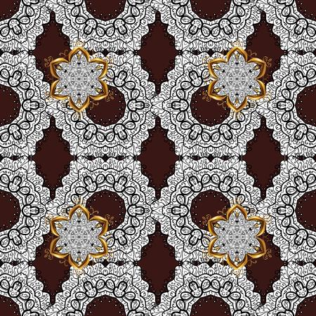 Vector sketch for invitations, cards, certificate, web page. Eastern style element. Vector line art seamless border for design template. Golden outline floral decor. Golden element on brown background Illustration