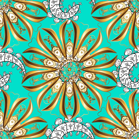 Seamless damask classic white and golden pattern. Vector abstract background with repeating elements. Golden pattern on blue background with golden elements.