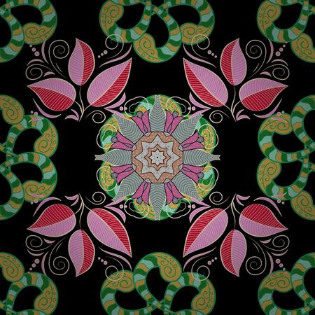 벡터 컬러 디자인 검정색 배경에 추상 만다라 신성한 형상 그림.