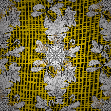 Sketch baroque, damask. Golden elements on yellow background. Vector background. Floral pattern. Stylish graphic pattern.