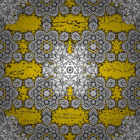 attern: Vector golden pattern. Golden textured curls. Oriental style arabesques. ?attern on yellow background with golden elements.